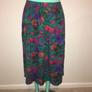 Vintage Floral High Waisted Midi Skirt Plus Size